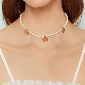 Jewelry - Beaded Butterfly Choker With Gold Butterfly Charms
